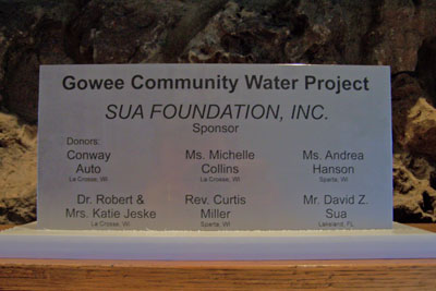 Gowee Water Project Placque